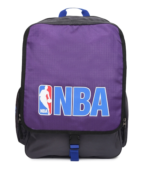 AMERICAN TOURISTER Unisex Purple & Grey Dribble NBA Printed Backpack