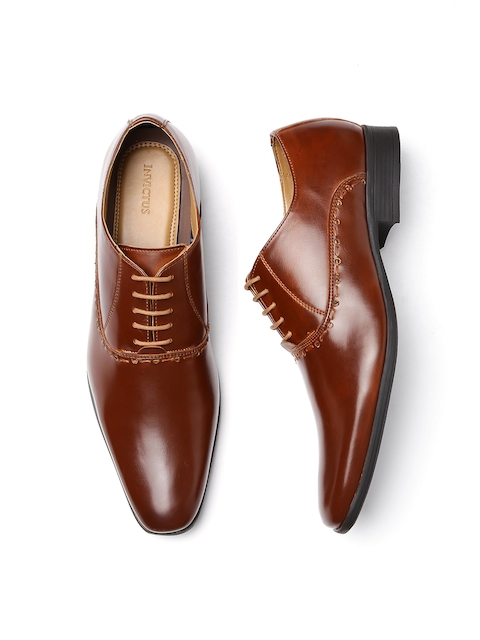 INVICTUS Men Tan Brown Formal Oxford Shoes