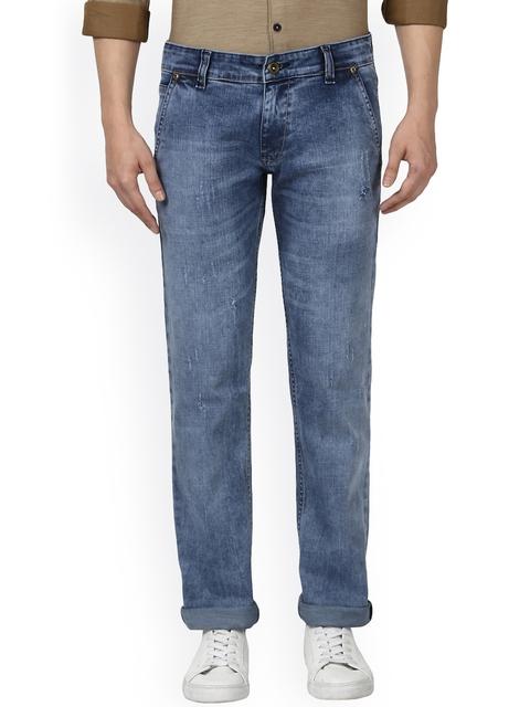 Park Avenue Men Blue Slim Fit Mid-Rise Low Distress Jeans
