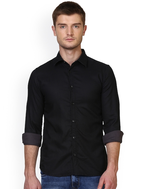 Parx Men Black Smart Slim Fit Self-Design Casual Shirt