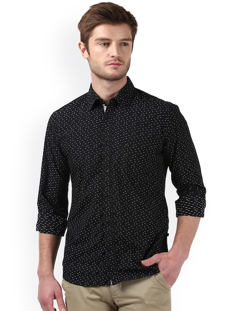 bedf726e51f 50%off Parx Men Black   White Slim Fit Self Design Casual Shirt