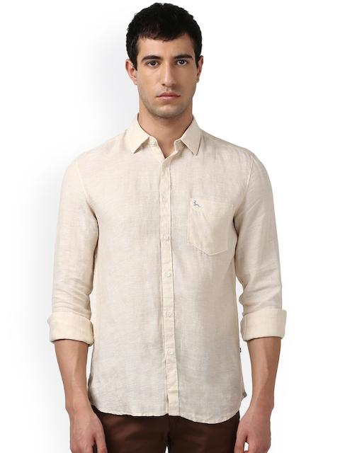 Parx Men Beige Smart Slim Fit Self-Design Casual Shirt