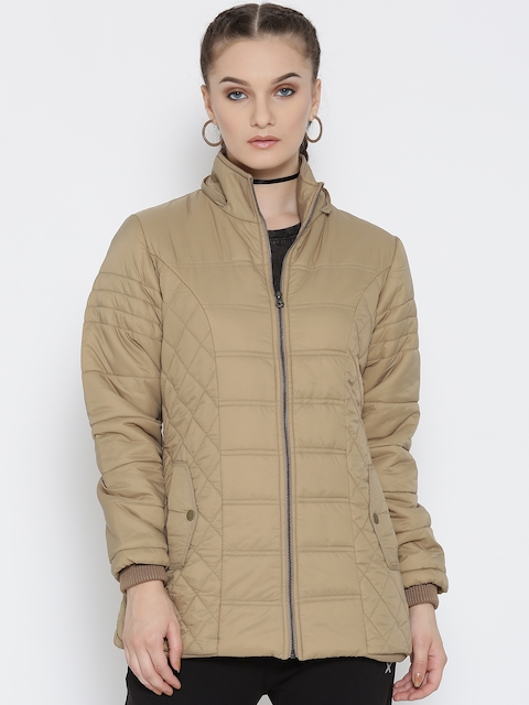 Fort Collins Women Beige Quilted Parka Jacket with Detachable Hood