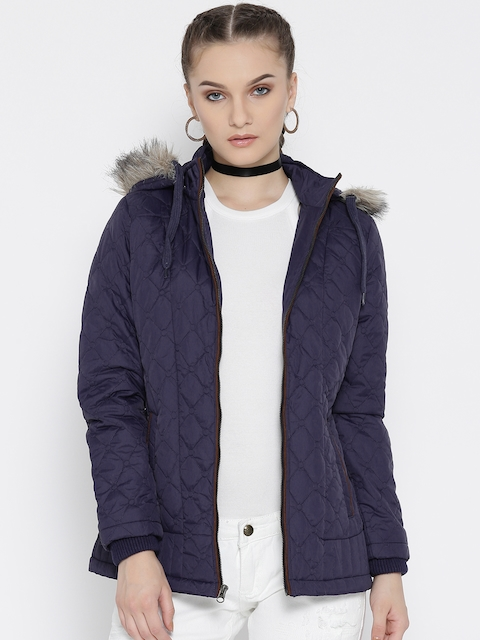 Fort Collins Women Navy Solid Quilted Jacket with Detachable Hood