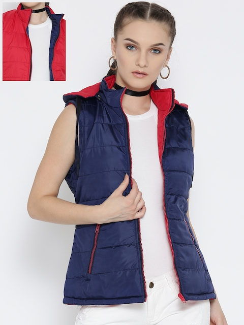 Fort Collins Navy & Red Reversible Sleeveless Padded Jacket with Detachable Hood
