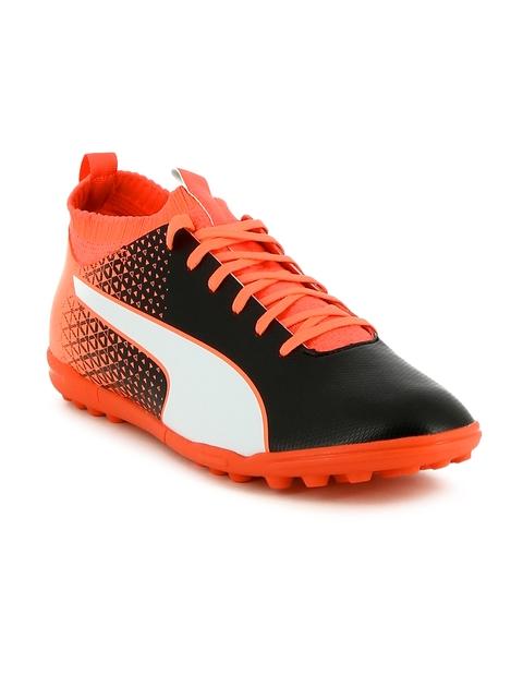 Puma Men Black & Coral Orange evoKNIT FTB TT Football Shoes