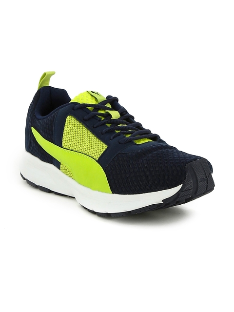 Puma Men Navy & Lime Yellow Deng Running Shoes