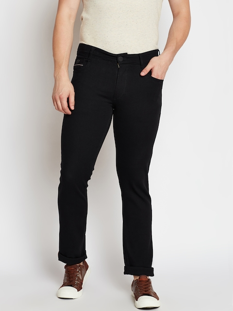 John Players Men Black Slim Fit Mid-Rise Clean Look Stretchable Jeans
