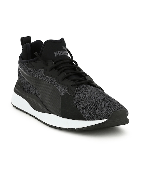 Puma Men Charcoal Grey & Black Pacer Next Tw Knit Sneakers