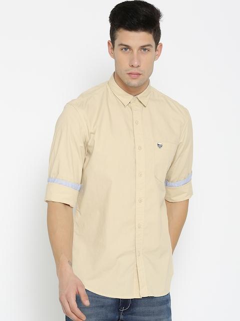John Players Men Beige Slim Fit Solid Casual Shirt