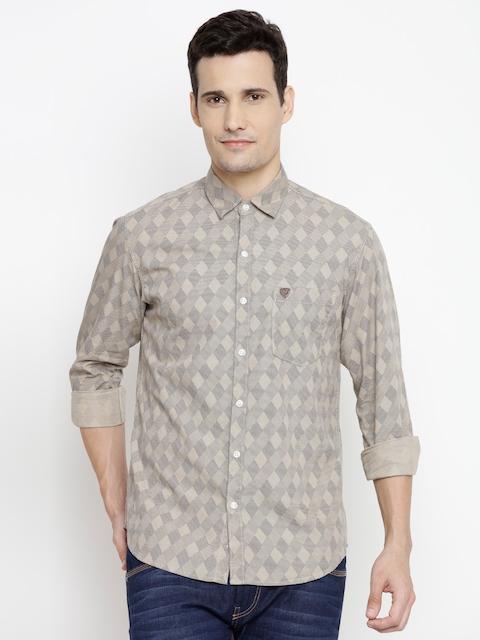 John Players Men Beige & Navy Trim Fit Printed Casual Shirt