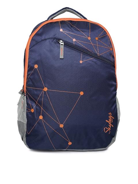 Skybags Unisex Navy Blue Printed Backpack