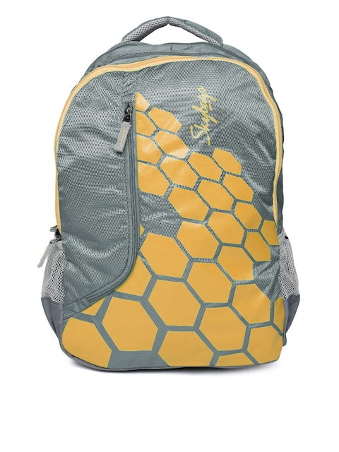 Skybags Unisex Grey & Orange Printed Backpack