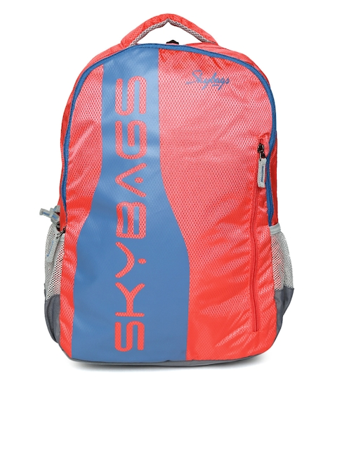 Skybags Unisex Coral Orange & Blue Brand Print Backpack  available at myntra for Rs.1074