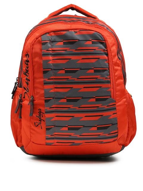 Skybags Unisex Orange & Grey Printed FOOTLOOSE HELIX Backpack