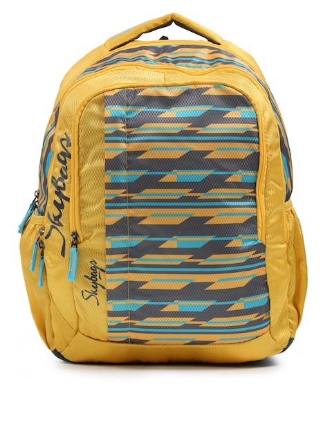 Skybags Unisex Yellow & Blue Printed FOOTLOOSE HELIX  Backpack