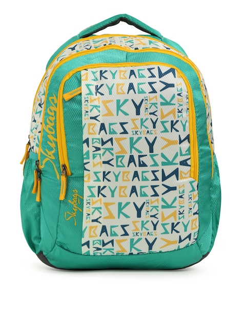 Skybags Unisex Teal & White Printed FOOTLOOSE HELIX Backpack