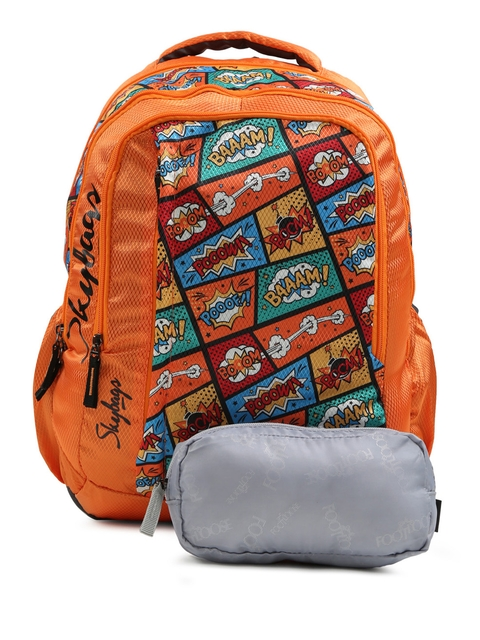 Skybags Kids Orange FOOTLOOSE HELIX PLUS 01 SCHOOL Graphic Print Backpack  available at myntra for Rs.1199
