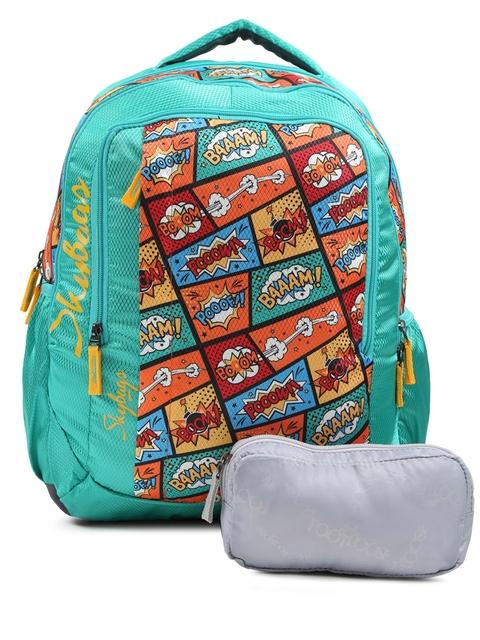 Skybags Kids Teal Green FOOTLOOSE HELIX PLUS 01 SCHOOL Graphic Print Backpack