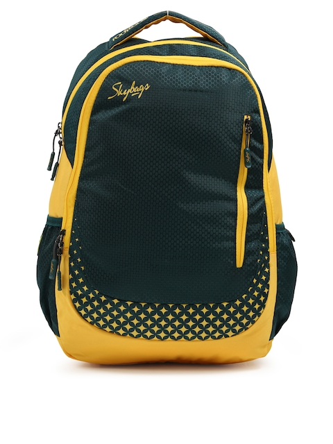 Skybags Unisex Green & Yellow FOOTLOOSE BLITZ PLUS 02 Printed Laptop Backpack