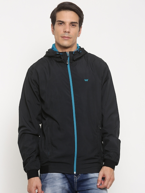 Wildcraft Men Black Solid Windcheater Open Front Jacket