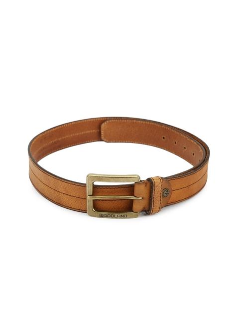 Woodland Men Tan Brown Solid Genuine Leather Belt