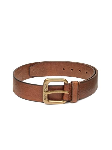 Woodland Men Brown Genuine Leather Solid Belt