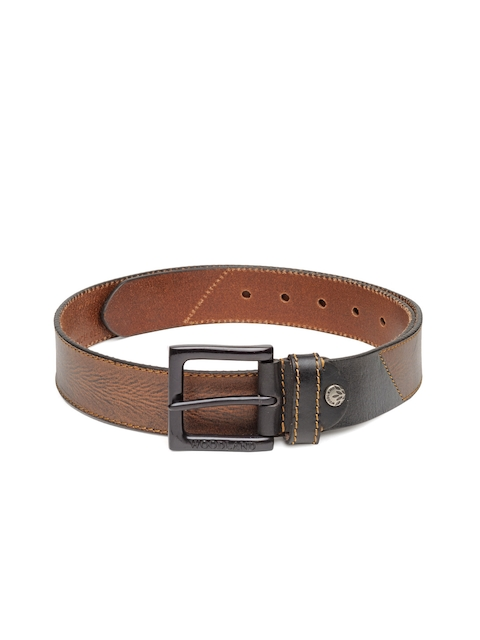 Woodland Men Coffee Brown Solid Genuine Leather Belt