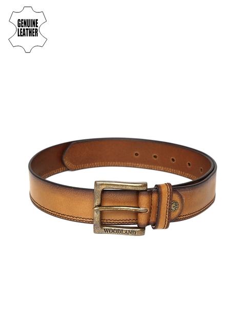 Woodland Men Tan Solid Belt