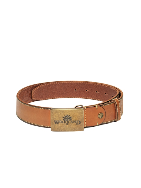 Woodland Men Tan Brown Solid Genuine Leather Belt
