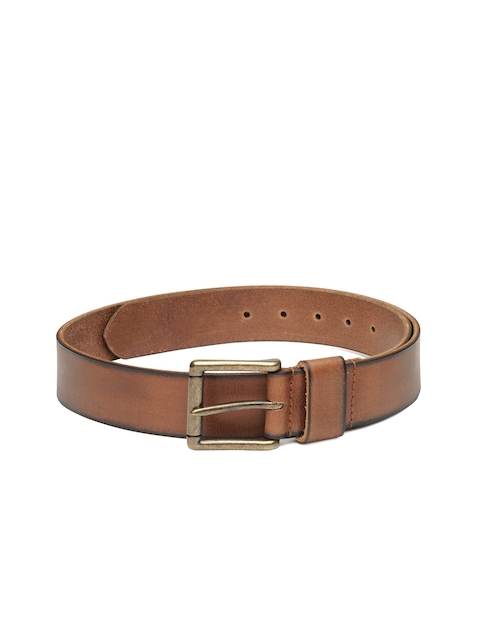 52a8444c0 Woodland Men Brown Genuine Leather Solid Belt