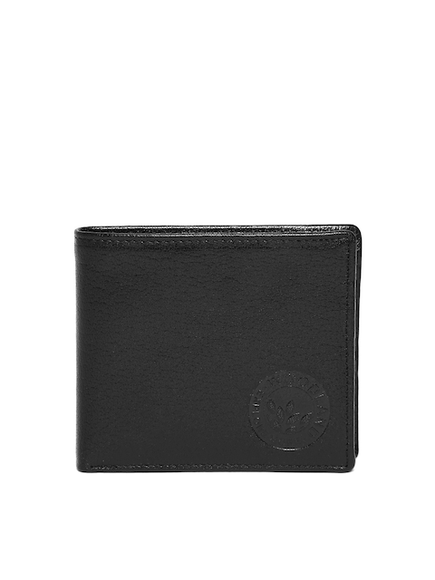 Woodland Men Black Solid Leather Two Fold Wallet
