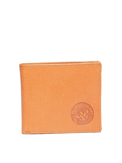 Woodland Men Tan Brown Two Fold Leather Wallet