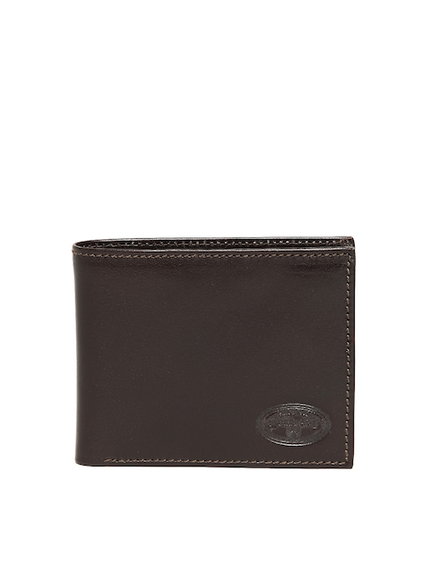 Woodland Men Coffee Brown Solid Two Fold Leather Wallet