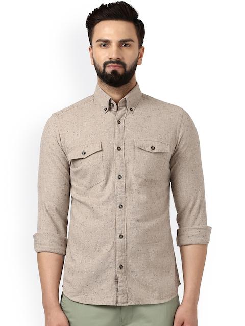Raymond Men Beige Classic Regular Fit Solid Casual Shirt