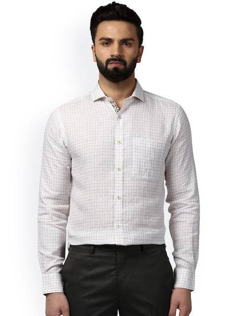 Raymond Men Beige & Off-White Slim Fit Checked Formal Shirt