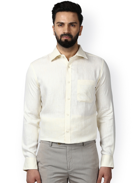 Raymond Men Cream Classic Regular Fit Solid Formal Shirt