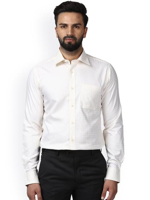 Raymond Men Beige Classic Regular Fit Self Design Formal Shirt