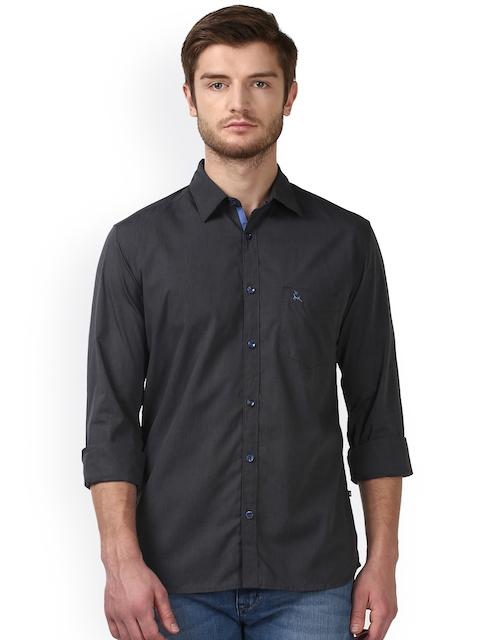 Parx Men Black Smart Slim Fit Solid Casual Shirt