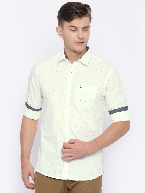 Allen Solly Men White & Yellow Sport Regular Fit Checked Casual Shirt