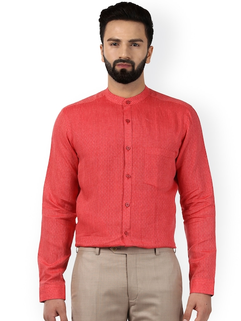 Raymond Men Coral Red Classic Regular Fit Self Design Linen Formal Shirt