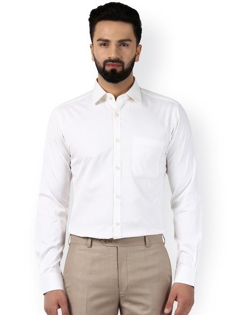 Raymond Men White Smart Slim Fit Self Design Formal Shirt