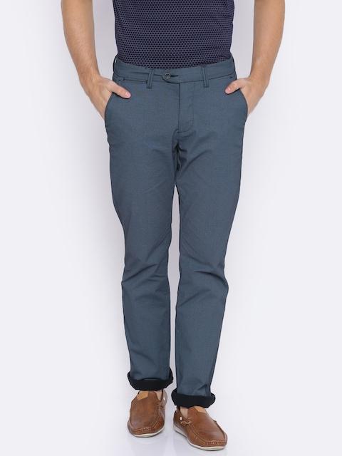 Allen Solly Men Blue Custom Regular Fit Solid Regular Trousers