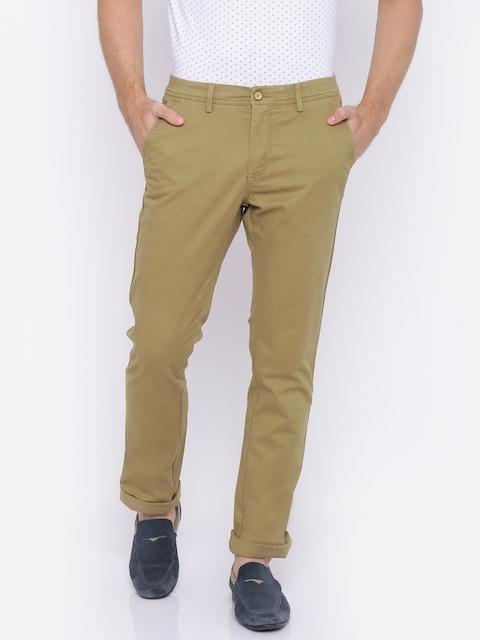Allen Solly Men Khaki Custom Regular Fit Solid Chinos