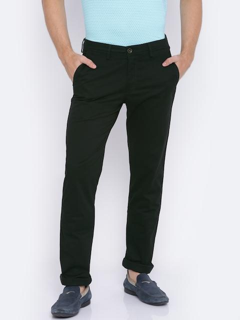 Allen Solly Men Black Custom Regular Fit Solid Chinos