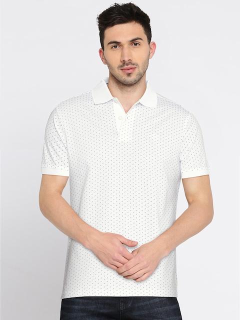 Allen Solly Men White Printed Polo Collar T-shirt