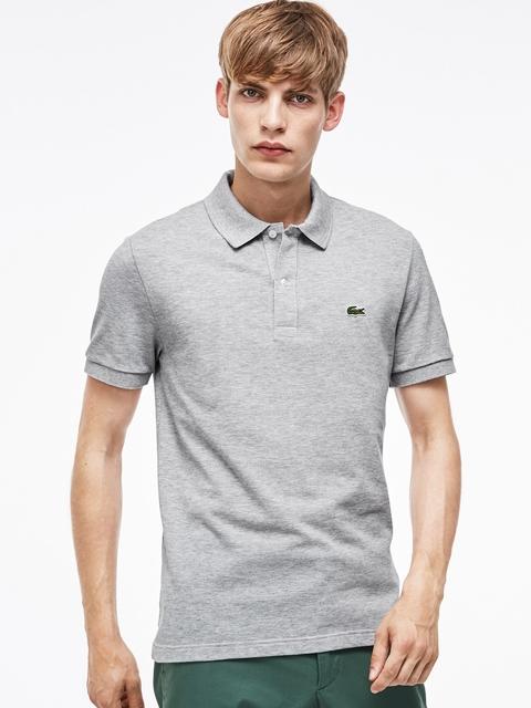 Lacoste Men Grey Melange Solid Polo