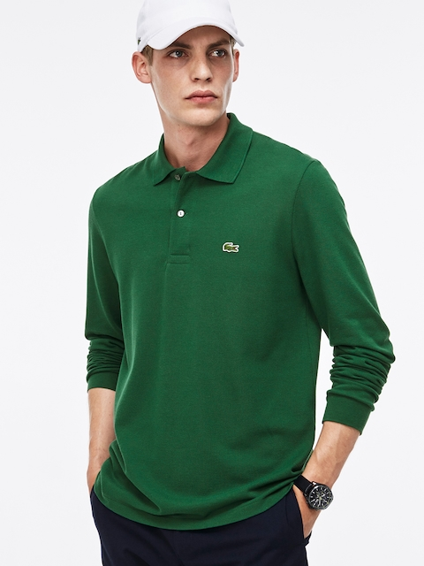 Lacoste Men Green Solid Polo