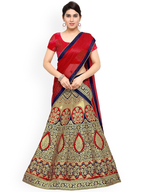 Styles Closet Blue Patterned Jacquard Lehenga Choli with Dupatta