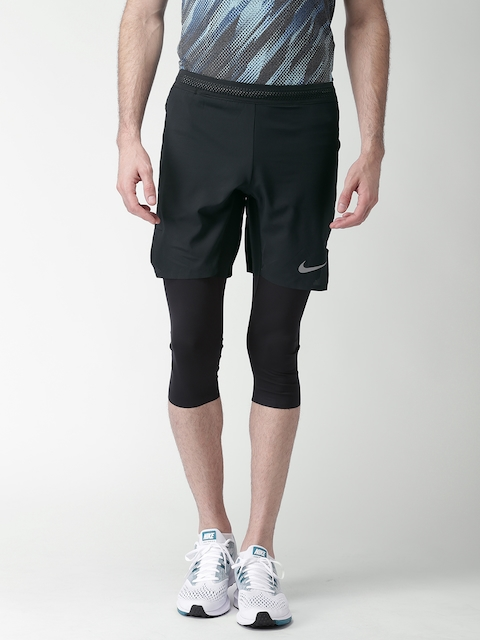 Nike Men Black AS M NK AROSWFT Self Design Regular Fit Sports Shorts
